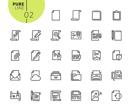 Set of office workflow icons. Modern outline web icons collection for web and app design and development. Premium quality vector illustration of thin line web symbols.