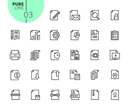 Set of business office icons. Modern outline web icons collection for web and app design and development. Premium quality vector illustration of thin line web symbols. Illustration