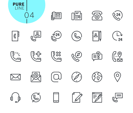 Set of contact, support and location icons. Modern outline web icons collection for web and app design and development. Premium quality vector illustration of thin line web symbols.
