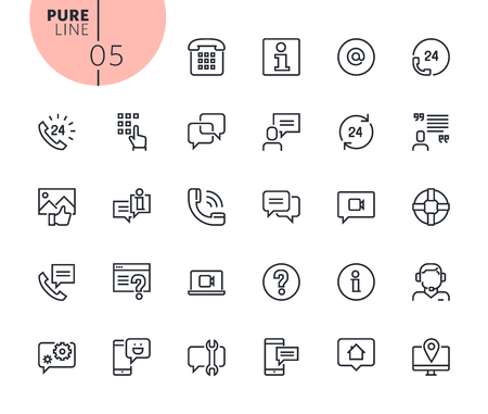 Set of mobile service and communication icons. Modern outline web icons collection for web and app design and development. Premium quality vector illustration of thin line web symbols.