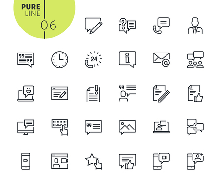 Set of social media and networking icons. Modern outline web icons collection for web and app design and development. Premium quality vector illustration of thin line web symbols. Illustration