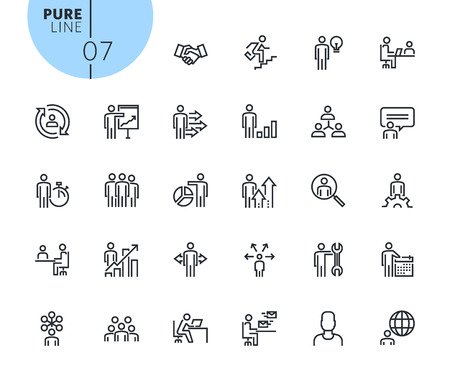 Set of business people concept icons. Modern outline web icons collection for web and app design and development. Premium quality vector illustration of thin line web symbols.