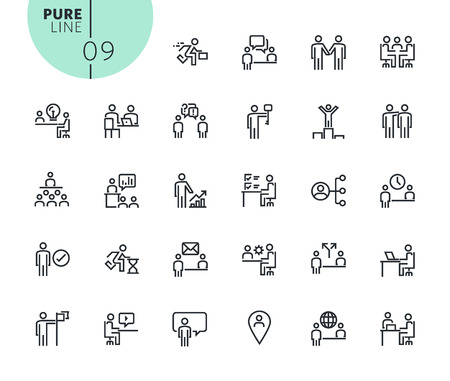 Set of business and marketing icons. Modern outline web icons collection for web and app design and development. Premium quality vector illustration of thin line web symbols.