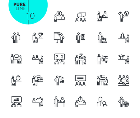 Set of strategy, planning and teamwork icons. Modern outline web icons collection for web and app design and development. Premium quality vector illustration of thin line web symbols.