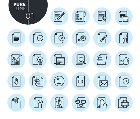 Collection of premium quality text editing and document formatting line icons. Outline concepts for web and app design and development. Modern vector illustration of thin line web symbols.