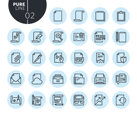Collection of premium quality office workflow line icons. Outline concepts for web and app design and development. Modern vector illustration of thin line web symbols. Illustration