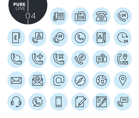 Collection of premium quality contact, support and location line icons. Outline concepts for web and app design and development. Modern vector illustration of thin line web symbols. Illustration