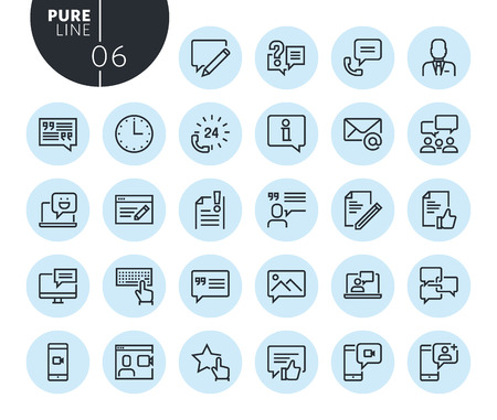 Collection of premium quality social media and networking line icons. Outline concepts for web and app design and development. Modern vector illustration of thin line web symbols. Illustration