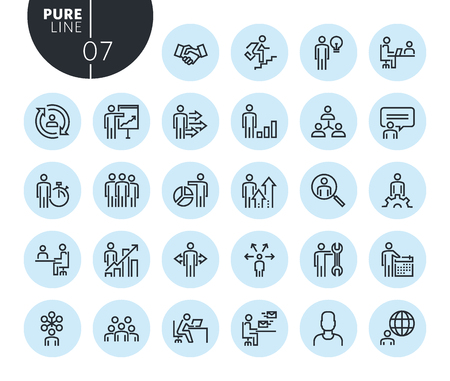 Collection of premium quality business people concept line icons. Outline concepts for web and app design and development. Modern vector illustration of thin line web symbols.