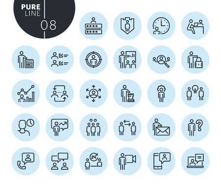Collection of premium quality business management line icons. Outline concepts for web and app design and development. Modern vector illustration of thin line web symbols.