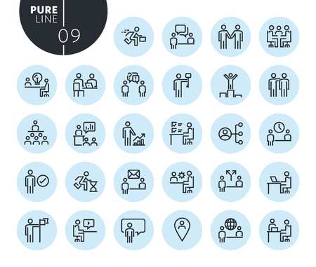Collection of premium quality business and marketing line icons. Outline concepts for web and app design and development. Modern vector illustration of thin line web symbols. Illustration