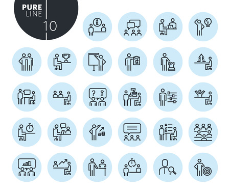 Collection of premium quality strategy, planning and teamwork line icons. Outline concepts for web and app design and development. Modern vector illustration of thin line web symbols Illustration
