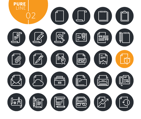 Modern office workflow line icons set. Vector illustrations for web and app design and development. Premium quality outline web symbols.