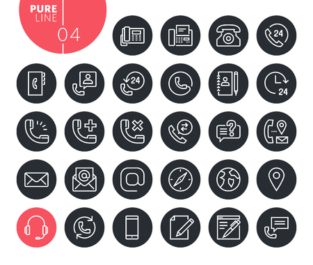 Modern contact, support and location line icons set. Vector illustrations for web and app design and development. Premium quality outline web symbols.