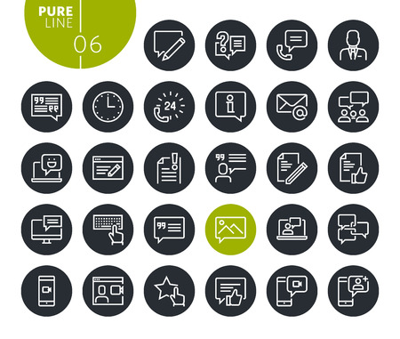 Modern social media and networking line icons set. Vector illustrations for web and app design and development. Premium quality outline web symbols. Illustration