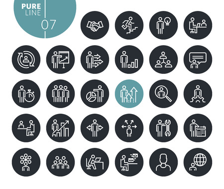 Modern business people concept line icons set. Vector illustrations for web and app design and development. Premium quality outline web symbols.