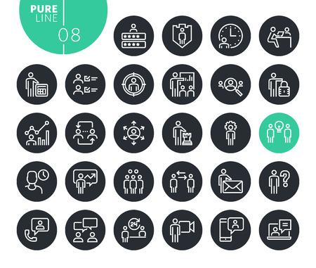 Modern business management line icons set. Vector illustrations for web and app design and development. Premium quality outline web symbols.