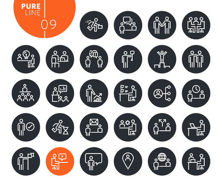 Modern business and marketing line icons set
