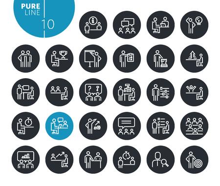 Modern strategy, planning and teamwork line icons set Illustration