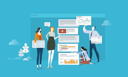 SEO. Conceito de design plano para análise web, atualização de aplicativos e otimização. Conceito de ilustração vetorial para web banner, apresentação de negócios, material publicitário.