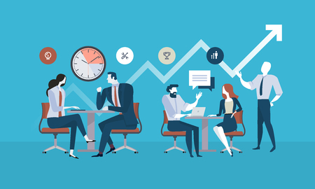 Flat design business people concept for project management, business meeting, working process. Vector illustration concept for web banner, business presentation, advertising material. Vettoriali