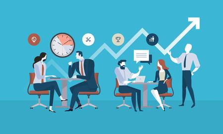 Płaska konstrukcja ludzi biznesu koncepcja zarządzania projektami, spotkania biznesowe, proces pracy. Koncepcja ilustracji wektorowych na baner internetowy, prezentacja biznesowa, materiały reklamowe. Ilustracje wektorowe