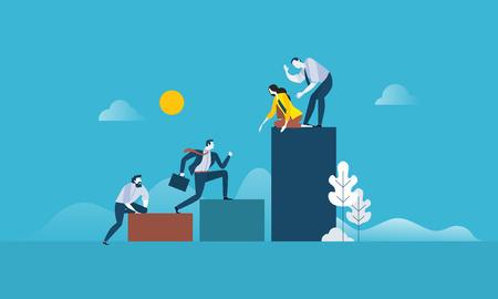 Erfolg im Teamwork Flaches Design Geschäftsleute Konzept. Vector Illustrationskonzept für Netzfahne, Geschäftsdarstellung, Werbematerial.