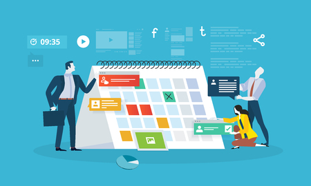 Events. Flat design business people concept for business planning, events and news, reminder and schedule. Vector illustration concept for web banner, business presentation, advertising material. 向量圖像