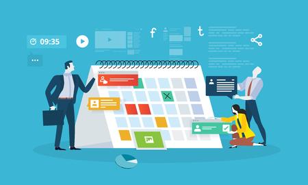 Events. Platte ontwerp mensen bedrijfsconcept voor bedrijfsplanning, evenementen en nieuws, herinnering en planning. Vector illustratie concept voor webbanner, bedrijfspresentatie, reclamemateriaal.