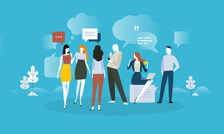 Testimonials and comments. Flat design concept for social media, product review, forum, communication. Vector illustration for web banner, advertising material. Illustration