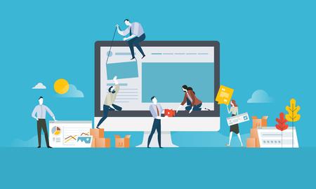 Projektowanie stron. Płaska koncepcja projektowania i rozwoju strony internetowej i aplikacji. Koncepcja ilustracji wektorowych na baner internetowy, prezentacja biznesowa, materiały reklamowe. Ilustracje wektorowe