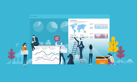 Flat design business people concept for strategy, planning, market research, finance, investment. Vector illustration concept for web banner, business presentation, advertising material.