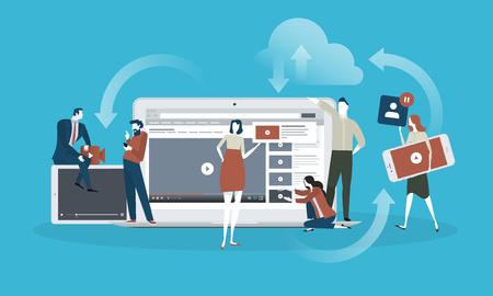 Vídeo. Concepto de diseño plano para transmisión en vivo, película, video marketing. Concepto de ilustración vectorial para banner web, presentación de negocios, material publicitario.