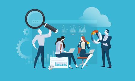 Ricerche di mercato e SEO. Concetto di illustrazione vettoriale design piatto per banner web, presentazione aziendale, materiale pubblicitario.