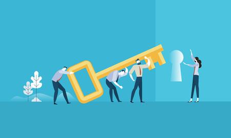 성공의 열쇠. 평면 디자인 비즈니스 사람들이 개념. 벡터 일러스트 레이 션 웹 배너, 비즈니스 프레젠테이션, 광고 자료에 대 한 개념.