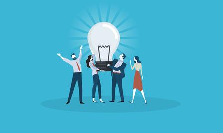 Grande idea Concetto di design piatto business persone. Concetto di illustrazione vettoriale per banner web, presentazione aziendale, materiale pubblicitario. Vettoriali