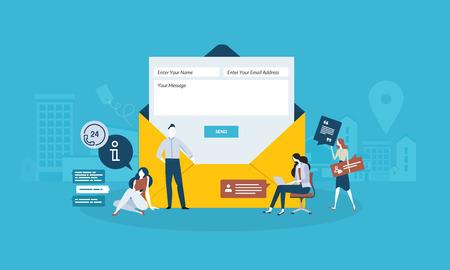 Contáctenos. Diseño plano concepto de personas de negocios. Concepto de ilustración vectorial para banner web, presentación de negocios, material de publicidad.