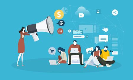 Mercadeo por Internet. Concepto de personas y tecnología de diseño plano. Ilustración vectorial para banner web, presentación de negocios, material publicitario.