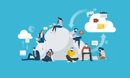 Computación en la nube. Concepto de personas y tecnología de diseño plano. Ilustración vectorial para banner web, presentación de negocios, material publicitario.