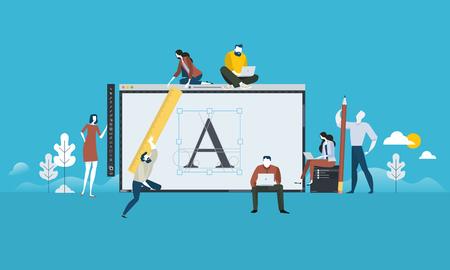 Diseño de logo. Concepto de personas de diseño plano para diseño gráfico, branding e identidad corporativa. Ilustración del vector para web banner, presentación de negocios, material de publicidad.