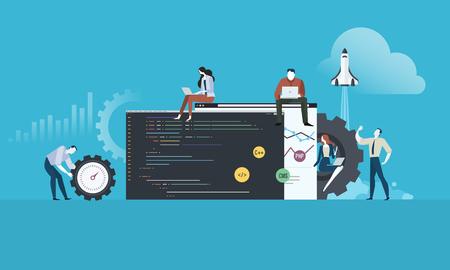 Coding. Platte ontwerp mensen en technologie concept voor website en app-ontwikkeling. Vectorillustratie voor webbanner, bedrijfspresentatie, reclamemateriaal.