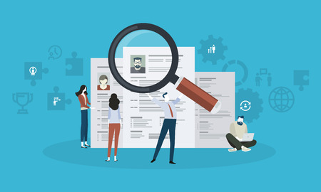 Career. Flat design business people concept. Vector illustration for web banner, business presentation, advertising material.