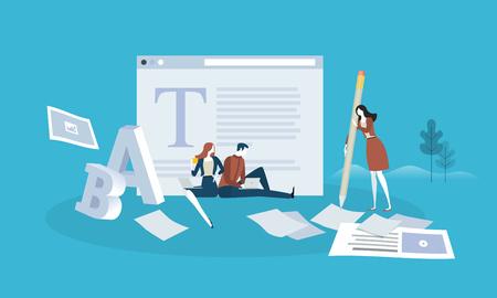 Blogging. Design piatto persone e concetto di tecnologia. Illustrazione vettoriale per banner web, presentazione aziendale, materiale pubblicitario. Archivio Fotografico - 87349735