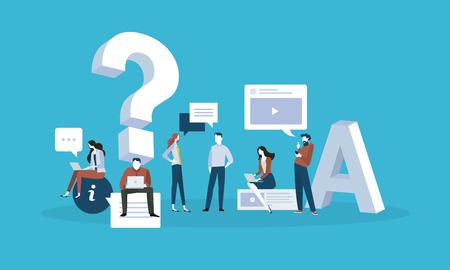 자주하는 질문. 답변 설계 및 질문에 대 한 평면 디자인 비즈니스 사람들이 개념. 웹 배너, 비즈니스 프레 젠 테이 션, 광고 소재에 대 한 벡터 일러스트 레이 션.