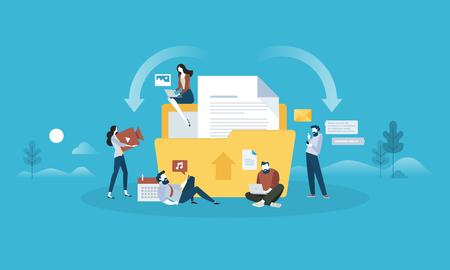 ダウンロードし、アップロードします。フラットなデザインの人と技術の概念。Web バナー、ビジネス プレゼンテーション、広告素材のベクトル図で  イラスト・ベクター素材