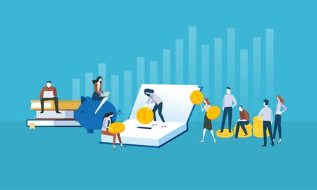 Platte webbanner in designstijl voor investeringen in kennis, studieleningen, studiebeurzen. Vector illustratie concept voor webdesign, marketing en drukwerk.