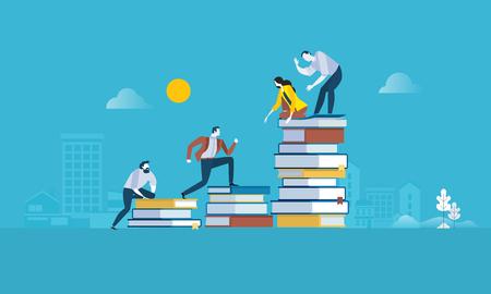 Banner web de estilo de diseño plano para el camino hacia el éxito, niveles de educación, capacitación del personal, especialización, apoyo de aprendizaje. Concepto de ilustración vectorial para diseño web, marketing y material impreso.