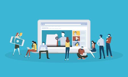 Banner web de estilo de diseño plano para educación en línea, video tutoriales, capacitación en línea y cursos. Concepto de ilustración vectorial para diseño web, marketing y material de impresión.