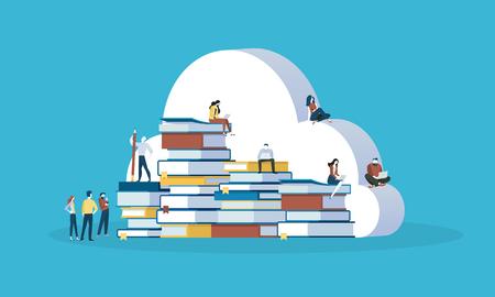 플랫 디자인 스타일 웹 배너 온라인 교육, 기술 자료, 교육 구름, 전자 책. 벡터 일러스트 레이 션 웹 디자인, 마케팅 및 인쇄 자료에 대 한 개념.