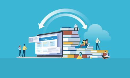 Banner web in stile design piatto per applicazioni educative, corsi di formazione online, formazione a distanza. Concetto di illustrazione vettoriale per web design, marketing e materiale di stampa. Vettoriali